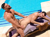 gay porn Abraham Al Malek And D || Dario Beck suns his muscled body at the pool in front of a gran vista, a view made even better because it includes Abraham Al Malek. Abraham dives into the pool and swims towards Dario. He emerges from the pool and removes Darios bulging speedo, revealing a huge, uncut tool that stands at attention, ready for service. Abraham uses his tongue, lips and hands to give Dario an expert blowjob. Abrahams cocksucking has Dario eager to get fucked, so they find a new position that gives Abraham full access to Darios willing hole. Dario, his feet in the air, moans urgently as Abraham delivers deep, powerful thrusts. Their pace quickens and their connected bodies move as one. Dario flips onto all fours and takes Abrahams cock doggy style; Abrahams huge balls, hanging low in the warm sunlight, slam into Darios furry ass with each thrust. Dario gets up and shoots rivers of cum all over Abrahams chest. Abraham, awed by Darios giant load, ejaculates long ropes of jizz that arc across the patio. Both studs bask in the intense release, kissing once more above the grand valley.