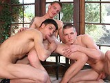 All of These Good-looking Dudes Has a Ripped, Beefy Body and a Cock to Make Any Mouth Water. One Guy Gets All the Attention In the Middle to Start With, His Two Randy Mates Giving Him a Double Blowjob With Their Hungry Tongues Before He's Spitroasted and Fucked Raw, With a 3-way Jack to Empty the Cum.