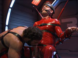 gay porn Lucas Knight And Jaxto || Redz member Lucas Knight has his hands and feet chained to the wall as his Onyx captor, Jaxton Wheeler approaches with flogger in hand. Jaxton works the hung stud over with the flogger before pulling him down and making him suck Jaxton's rock hard cock. Bound in the Onyx Converter, Lucas has an electric butt plug shoved up his ass as he's shocked and tormented. To complete his transformation, Lucas is made to worship Jaxton's feet before receiving his hot load of cum all over his face and sucking off every drop.
