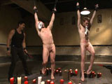 gay porn Van Christian Seamus A || Hung stud's Doug Acre and Seamus O'Reilly stand with their jockstraps in their mouths as Van gives them each their slave number, 153 and 523. After a flogging from Mr. Wilde, hot wax is poured all over both subs while being relentlessly tormented with the zapper. 153 and 523 have their legs and arms bound in the air as their exposed ass cheeks are beaten red with the paddle. Van and Christian take turns drilling the fucksall into each of the boy's holes before Christian whips out his giant cock and pounds their holes. After a heavy caning, both subs worship Mr Wilde's beautiful feet before they climb up on the sybians to see who can blow their load first. Finally, Christian orders the boy's to their knees for them to receive his massive load all over their faces.
