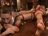 gay porn Trevor Spade || Cocky punk, Trevor Spade walks into his dad's bar like he owns the place. Sebastian has just been hired and when he gets tired of Trevor's attitude he teaches him a lesson the only way he knows how. With Trevor tied to a chair, Sebastian cuts off the stud's clothes and gets his cock hard. As Trevor moans and squirms in the bondage he's brought to the edge again and again. Once the desire to cum eclipses Trevor's attitude problem he's putty in Sebastian's hands. Sebastian fucks Trevor's tight hole with a vibrating dildo and teases his rock hard cock. Finally, after hours of edging, Trevor shoots a fat load all over his abs and endures the post-orgasm torment to really teach him a lesson.