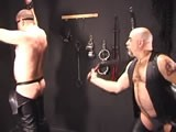 Watch Two of Our Most Skillful Leather Master Bears Give It to a Pair of Eager, Willing Bondage Bottoms. Jyd's Back In Command of the Floggers, and His Creative Use of Leather Gear Gets the Ever-popular Bad Dog as Hard as They Come. Then Jb Takes Newcomer Tygrrboy, Gets Him on His Back, Wrists and Ankles Bound, and Pushes Him Right to the Edge--and Over! You'll Laugh Until You Cream When You See How This One Ends.