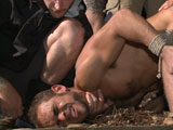 gay porn Christian Brock Avery  || Officer Brock Avery has just found a naked man, helplessly tied up in the middle of the woods. When he discovers it's none other than Eli Hunter, who's been reported missing for a few days now, the officer quickly goes to his rescue. Before he can untie poor Eli, Officer Avery's jumped from behind and dragged off into the woods. He then finds himself bound with rope as a group of horny men drag him through the woods while tormenting him with the electric zapper. They pass Brock around, ramming their cocks down his throat like their fuck doll before bending him over for a rough fucking. After taking a load to the face a zipper of clothespins is ripped from his flesh. Later that night, the horny men take turns fucking him from both ends before Christian Wilde relentlessly flogs him, his screams of pain filling the night sky. Officer Avery's bent over once more for more hard cock up his ass while receiving each of their loads of cum all over his face.