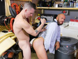 gay porn The Janitors Closet || Matts busy as hell pulling another all nighter trying to get caught up with work. James the janitor is on his nightly routine walking down the hallways checking the offices for trash to empty out when he barges in on Matt who is startled. Matt shrugs it off and while James is grabbing his trash Matt starts to check him out from head to toe. On his way back to the janitors closet James has a raging hard on and he rubs himself as he finishes up his nightly duties. Matt, super horny, heads down the hallway towards the closet and sneaks up on James. While standing there rubbing his cock quietly, James turns around and cant believe Mr. Stevens is checking him out. They both move in closer and James tells Matt to get on his knees and suck his cock. Matt pulls out that big fat cock with some even bigger low hangers and gulps it down slobbering all over his dick. James takes control and face fucks Matt balls deep, slapping him on the chin with them. James is ready to fuck that ass and gets it loosened with one finger, then two, and finally three fingers deep he fucks him good and hard. Matt has been eager for a night fuck and he loves how aggressive James is being with him as his tie is pulled around his neck while being fucked deep and hard. The balls slap away constantly and James gets his creamy load blasted all over Matts face. Enjoy!