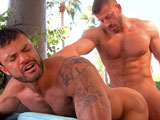 gay porn Day Into Night Scene 1 || Hunter Marx emerges from the poolhis muscular body dripping wet, his boner bouncing as he dries off. He spots tan and hairy Rogan Richards working his own bulge. Hunter approaches the horny studwho opens his mouth to engulf his sizable slab. Rogan teases the underside, whipping Hunters dick on his face. Side shots capture Rogan going deep, eliciting a Fuck! from Hunter. Spit strand connect the tip to Rogans tongue, the sucker whipping it on his mouth again. They kiss, their cocks grazing before Rogan feeds Hunter his thick, uncut slab. He whips it on the studs hairy chest, the smack sound filling the air. Fuck my face! demands Hunter, who gets his wishsoon teasing the foreskin with his tongue. Rogan fucks Hunters hand while gripping his wrist. They eat each others holes before Hunter fucks him from behind, the bottom arching his back. Hunter works it in deep, his shaft disappea ring as his pubes tickle Rogans ass. The top fires his thick load, fingering it up and putting it on his cock before Rogan dumps a big wad.