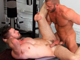 gay porn Sweat Scene 1 Hunter M || At the gym, Troy Daniels gets instruction from trainer Hunter Marxwho steadies his clients legs during an exercise. As Troy finishes the set, Hunter moves his hands to the studs groin and reaches up for a kiss. Hunter works on Troys jockstrap bulge before releasing his cock and engulfing it. Hunter strokes it as they kiss, licking Troys pec before sucking him againsliding his tongue up the smooth sac and shaft. He spits on it, a big strand of saliva connecting his mouth to Troys boner. Hunter nibbles his buds foreskin, then straddles Troys face to feed him hairy hole. Troy jacks his own cock as he rims, then gets fed Hunters meaty cockall being watched by stroking voyeur Dirk Caber. Hunter plows Troys face, then fucks him from behindTroys boner bouncing with each thrust. Hunter reaches around to jack the bottom as he fucks him, Troy then sitting down on the top and riding him. Troy gets on his back as Hunter rams him, the bottoms big load soon dripping down the side of his stomach before the top comes on him.