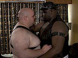 gay porn Black Daddy - White Bo || a Big Black Leather Top Fucks His Fat White Boy In a Sling!<br />