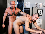 gay porn Daddy Issues || Bradley is taking a break from the bar and is headed to the pisser to relieve himself. After a lengthy piss he washes his hands and checks himself out in the mirror. With his head down wiping his face Matt creeps up behind him and waits for him to turn around. Startled as he turns around but intrigued as to what Matt might do they stare in silence at one another. Matt than grabs Bradley and starts to make out with him and then throws him into the stall and tells him to get on his knees in front of the gloryhole. Matt sticks his dick through the gloryhole into Bradleys waiting mouth and Matt starts to fuck his face nice and hard. Matt wants to see his face now so he pulls Bradley out of the stall and puts him back on his knees in front of him so he can see his eyes while fucking his wet mouth. Matt than bends Bradley over the barrel and fucks him deep and hard. Luckily no other bar patrons has entered the bathroom but these hunks dont mind and continue to fuck in multiple positions and cum all over each other.