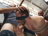 gay porn Dylan Strokes And Mike || Hot mechanic Mike Gaite is working on Dylan Strokes' motorcycle and promised it would be ready. When Dylan arrives and finds out his bike isn't actually ready, he decides to make his visit to the garage worth while. He pounces on Mike from behind and quickly ties him up before calling his buddy's over to join in on the action. They grope and torment the muscled mechanic before bending his ass over to get fucked from both ends. Mike's then suspended in the middle of the garage for everyone to take turns on his tight hole before tying him down to Dylan's bike. The horny crowd pounds away before dousing Mike's face in cum and having him lick up every drop.