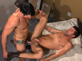 gay porn Working Stiffs Scene 2 || As they finish cleaning up the room theyre renovating, Jimmy Durano cant keep his eyes off Justin Beals ass. They kiss, Justin dropping to his knees and releasing the big bulge from Jimmys jockstrapopening wide to take the thick, uncut beauty in his mouth. Jimmy kneels down for a kiss, the bulge in Justins briefs ready to bursthis dick head peeking out from the underside. It pops into Jimmys face, the stud soon breathless as he sucks. Jimmy spits on and eats Justins ass as the scruffy-faced hunk soon shows off his bonerwhich stays rock hard as he sits down on Jimmys rod. The bottoms stiff shaft frantically bobs around in a hot sequence as he rides like a pro, the pleasured Jimmy looking on from behind in awe at the bottoms skill. Jimmy then pumps him from below, soon fucking him from behind. Finally on his back, Justin lets out a monster load as he gets reamedrubbing both of their loads onto his smooth bod.