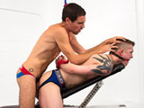 gay porn Tyler Rush And Elijiah || Bubble butt and bound jock Tyler Rush is tied to a weight bench with his ass in the air. Hung stud Elijiah Woods takes advantage of the helpless jock by first eating out Tylers endless booty and then he gets to fuck it with his big 10-incher. Elejiah keeps pounding away like the young buck he is until he shoots a load all over Tylers perfect plump butt.