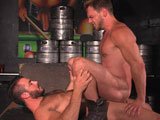 gay porn On Tap Scene 3 Jessy A || As he sets up the billiard room, boss Jessy Ares gets distracted by Hans Berlins backside. Thats nice, he says as he grabs hold and grinds on it, eliciting a smile from the stud. Jessy is soon sucking the blond cock, a voracious sequence where he gulps and gags, spitting all over Hans groin and drooling on his own hairy chest. Jessy takes his shirt off, wraps it around Hans neck and pulls him down for a kiss. Hans whips his cock on Jessys pecs and spits down before delivering a fast face fuck. Jessy whips out his big boner, feeding his bud: All the way down! Stick it in there! His face getting redder, Hans chokes, smiling as he says I want that in my ass! Jessy abuses his face some more (All the way down to my balls!), then bends Hans over the pool tableeating him before fucking his bubble butt. Hans grips Jessys a rm and hand as he gets rammed (Get into me!), then sits down on himhis boner bouncing off the tops stomach. Hans gets on his back as Jessy gyrates in, the two finally firing away.