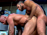 gay porn Bad Cop Scene 3 Hunter || After a long shift, Hunter Marx and Damien Stone unwind in the precinct locker room. Hunter comes out to his surprised colleague. What do you guys do together? asks a turned-on Damien, whose big dick is soon deep inside Hunters furry mouth. Thats it! moans Damien, looking down at the mohawked sucker. So sexy! Hunter slaps his face with it, then gets his face whipped. Damien grips Hunters huge cock before devouring it, spit beads clinging to his beard. They kiss, a spit strand connecting their hairy chins. Hunter buries his scruffy face in Damiens hole. He fucks him from behind, then turns him over. Damien rests his leg over the tops shoulder, Hunter licking it as he fucks. Hunter goes deep, his steel shaft snapping up when its released from Damiens hole. Hunter bends over for Damien, the top plowing so hard and fast that both of their muscle pecs shake. The bottom gets on hi s back, the two squirting all over his hairy frame.