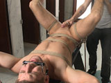 We're lucky to have uncut hunk Connor Halsted joining us on Men on Edge this week. We start him off bent over the horse as we tie him down tight with a blindfold across his eyes. Moaning in ecstasy, Connor's uncut cock throbs the closer we get him to the edge as we use toy after toy on his sensitive head. His legs are tied up in the air so we can better examine his pink hole. After giving him a vibrator up his ass, we milk a load of cum right onto Connor's face before polishing off his cock with some post-orgasmic torment.