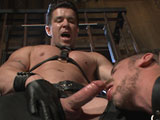 gay porn Trenton Ducati And Leo || House Dom Trenton Ducati arrives in the Chain Room to test his new sub, Leon Fox. Trenton begins the session by having the boy clean his leather, grabbing him by the hair and making him rub his tongue on his boots. Trenton grabs a bucket of water and dunks the boy in it while he fucks his ass, making him hold his breath while he endures the rough fucking. Bound with his arms up, Leon takes a relentless flogging and gets Trenton's cock rammed up his throat. Trenton locks the boy into a brutal ass-up, arms-back position and fucks him one last time. Leon cums with Trenton's cock in his ass and then receives Trenton's load on his face.