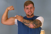 gay porn Muscular Personal Trai || Ralph is a sexy young lad who immediately relaxed in front of the camera and was keen to show off his body and tattoos. He's a handsome guy, with a great build - lots of muscle, and when he strips off you get to see his nice uncut cock - it gets hard easily and he is obviously a guy with a thick one! He wanks it vigorously in front of us, and also doesn't hold back from bending over and showing us his tight, lightly hairy hole. He shoots a nice thick load over himself, what a nice mess he makes!