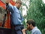 Abusive, Sadistic Prison Warden Jack Wrangler Orders an Inmate (sam Benson) to Suck His Cock While He's Supposedly Guarding a Chain Gang Hard At Work Outdoors. Wrangler Then Fucks the Inmate and Cums on His Back. Scene From Steve Scott's Classic, Wanted (1980), Also Starring Al Parker and Will Seagers.