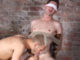 gay porn Ross Drake And Deacon  || Ross is a very inexperienced boy who has never been used like this before. Deacon is the perfect choice to welcome him, finding the young man naked, blindfolded and bound to a chair. His cock is pleasured, making him hard, but soon the punishment begins. With his balls pegged and his scrotum stretched out, Ross gets his slippery drooling cock wanked and sucked over and over by horny Deacon, being made to cum a thick white load before the kinky boy is finally done with him! Ross enjoyed it a little too much, it might be time to take things further!
