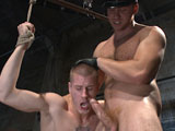 gay porn Brendon Scott And Conn || Officer Connor Maguire has just caught perp Brendon Scott and quickly cuffs his hands behind his back. The muscled officer torments the boy's nipples before giving Brendon's big cock a beating with the crop. Bound in rope, Brendon is then tormented with the flogger before he's made to swallow the officer's rock hard cock. Officer Maguire rams his cock deep inside Brendon's tight ass while suspended in mid-air. After receiving a load of cum on his face, Brendon's brought down to the ground with a nightstick shoved up his ass until Officer Maguire milks a load out of the boy's cock.