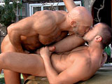 gay porn Pacific Coast Scene 3  || As he puts away tools in a trunk by the garage, Jesse Jackman cant keep his eyes off Donnie Deanindulging in an outdoor shower as water cascades down his smooth muscles. Their eyes meet; Jesse walks over for a kiss, his massive body getting soaked. He sucks Donnies hot rod, spit falling down. Donnie flashes his killer smile, the two kissing and grinding on each other before he swallows Jesses big, curvy cock. Jesse grunts as he gets deep throated, Donnies lips wrapped tight around his shaft. The sucker strokes his own boner, snapping it up on his abs. Donnie offers his ass, grabbing Jesses huge pec as he gets fuckedand slapping his boner on the tops stomach (Pound my ass!). Jesse spits in the bottoms hand, Donnie using it as lube as he strokes. Jesse then bends over, his muscle ass getting pounded as his eyes roll up in his head. On his back, Jesse growls some more before the top coats his bod and pubes with cum.
