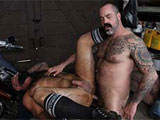 gay porn Scotty Rage And Victor || Scotty and Victor are two rough and sexy muscle bears who really go at each other in this hot scene. These two furry fuckers get naked in a garage and get each other's engines running at full speed. Hot bottom Victor really knows how to take dick and Scotty is the one to do some hard core pounding. Mmmm, we want us some of that.