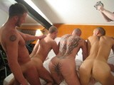 German Bareback Hunks Suck and Fuck In Raw Group Action