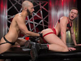 gay porn Rogue Status And Brand || Sexy Southern cock whore and super pig Brian Bonds is excited by huge dicked, bearded and smooth bodied Dylan Strokes, has his meat hanging out of his leather jock strap. Skipping the foreplay, they make out for only moments before Brian is on Dylans cock. As loads of spit a globs of saliva stream down Dylans cock, he starts to toy with Brians ass smacking it and fingering it. Brian urges Dylan to eat his ass hard and wet and get it ready for Dylans fist. Its not long before Dylan gloves and lubes up and starts by adding digit by digit until his full hand is in. Brian is a pro fisting bottom to rival all fisting bottoms, and his ass quickly accepts Dylans entire fist, and Brian pushes his hungry hole back on both Dylans hands. The deep strokes have Brian hard as a rock and on his back. Dylans standing, stroking himself with one hand and with the other firmly planted in Brians hot greedy center. Dylan bends over to blow Brian while he fists his hole with rapid jabs until Brian spurts multiple streams of cum that send Dylan over the edge, spraying a load right at the camera.