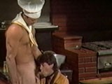 gay porn Vintage Kitchen Threew || In This Scene From Roger Earl's 1985 Gay Porn Sex Lunch (set In a Restaurant Full of Nude Waiters), Studly Chef Matthew Marks Offers His Private Lunch Special, In the Kitchen, to Valet Brett Sims. He Drops His Chef Pants Right In Front of the Stove and Slides His Sturdy, Pretty Boner Into Sims' Mouth. Super-cute Customer Ben Peters Appears While the Two Are Engaged In Analingus and Joins In. They All Fuck and Suck and Cum.