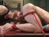 gay porn Hugh Hunter || Sebastian meets up with Hugh Hunter today, a KinkMen fan who fantasizes about receiving a bondage experience beyond anything he's had before. Sebastian obliges, tying Hugh to a chair and slowly stripping the clothes from his muscled body. Sebastian places a blindfold over Hugh's eyes to intensify the sensations and starts worshipping the nipples on Hugh's bulging pecs. Hugh moans as Sebastian takes his time on Hugh's throbbing cock, agonizingly teasing it with his mouth before finally peeling it out. Sebastian edges Hugh again and again, making Hugh taste the precum from his diamond-hard dick. Even with a double-Hitachi treatment on his nipples and dick -- followed by an extended foot worshipping -- Hugh still is not allowed to cum. Next, Hugh is taken from the chair and bound to the pool table, face down, ass up. With his balls tightly wound in red twine, Hugh takes a vibrating dildo up his tight hole. The ass fucking makes the cum denial more and more unbearable, but Sebastian continues the edging. Now flipped over on the pool table, Hugh has his toes worshipped a second time as Sebastian jerks his swollen dick. Hugh gets the large prostrate massager in his ass and receives more edges. Pushing Hugh to the limit, Sebastian finally allows the hunk to cum all over his bound abs before tormenting his sensitive cock head and tickling the hell out of his feet.