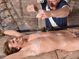 gay porn Casper Ellis And Sebas || Naked and on his back, twink boy Casper is at the mercy of the devious master Sebastian, his ankles and arms tied, ready to be stretched. His pink uncut cock is limp, and the pain and discomfort as the master stretches him with the kinky contraption is not likely to make him hard. The master encourages with some sucking and stroking, but the addition of a cock ring and the endless attention to that soft dick has Casper on the edge. With hot wax dripping over his naked and used body and his dick relentlessly wanked the boy can't stop his cum from flying out!