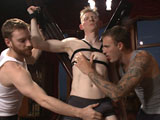 gay porn Rob Yaeger || Lean stud Rob Yaeger eagerly joins Sebastian and Christian Wilde for our live show-- what a better way to spend Friday night? Sebastian starts by tying Rob down to a St. Andrew's cross while Christian tenderly plays with Rob's cock. Once immobile on the cross, the night's fun truly begins. Christian and Sebastian take turns working Rob's raging boner, jerking it, sucking it, running two hitches over it and stroking it with a fleshjack. Rob writhes on the cross with each successive edge, the sensations intensified by the blindfold over his eyes. After a short intermission to check in with all the horny members, Sebastian binds Rob upside-down to a chair. With easy access to Rob's feet and ass, Sebastian and Christian worship and tickle Rob's toes and finger his tight hole. After one last twisting edge, Rob could no longer handle the torment and blows an explosive, involuntary load in Sebastian's hand. Sebastian works the rest of the cum out of Rob's balls and smears the load in his face. The relief is short-lived, however, as Christian torments Rob's cock head while Sebastian tickles the hell out of Rob's feet.
