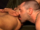 "gay porn Military Serviced || For some hot ""active duty,"" DaddyRaunch.com gives you a couple of pairings. The first is Sergeant ""Pig"" Austin and his ""hole,"" Steve. The second ""ass-ignment"" is of Rod, the top and Stefano, his hairy bunkmate. In the barracks, and ""rodding along,"" Austin awakens his phallic senses and enlarges his urethral opening when in walks Steve. Giving hand and mouth service, the bottom does a good job, but the top is more interested in Steve's hole and ""en-lists"" some hot gasping and moaning. On the bed and ""shooting his gun,"" the bottom cleans the dick and then adds some white to the hair on the bear."