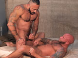 gay porn Upper Hand Drake Jaden || Marine Drake Jaden is stroking his big boner in uniform when hes interrupted by roommate Alessio Romero. Sorry about that, man, he says. I had a pretty tough deployment. Alessio doesnt mind, whipping out his own cock as the two stroke and stare at each other. I guess this is dont ask, dont tell? asks Alessio as Drake smiles at him. Alessio feeds the stud, Drakes nose planted in Alessios pubes. Alessio holds the suckers head, guiding it All the way down! Alessio goes for the massive boner jutting out of Drakes uniform, his mustache brushing Drakes pubes. Ready to get fucked? asks Alessio, demanding a Yes, sir! Drake sits down on it, his own big cock frantically bobbing up and down as he rideshis tight muscle bod filling the frame. He gets it from behind, the bed squeaking as he plants his head in a pillow. The sweaty Alessio wraps his arms around the bottom, who ar ches back for a kiss. Drake gets on his back for more, soon releasing a sticky white wad that clings to his hand, the top soon squirting on him.