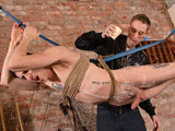 gay porn Timmy Treasure And Ash || Timmy is a young man with a cum load always ready in his cock, and Ashton knows it. He's been strung up like a piggy and left hanging for the sadistic boy, and Ashton wastes little time. Spanking and beating his ass, fingering his hole and abusing his hard uncut cock, Ashton gets the twink leaking precum from his piss slit, milking him over and over to get the strings of clear juice dangling from his erection. Hot wax and ball punishment follows, but all that pain can't stop his cock from spewing cum when Ashton wanks him to a climax!