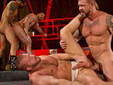 gay porn Boomer Billy Rocco Ste || This is a Clusterfuck orgy with four hot studs going at it. Rocco Steele is the only one not wearing a crusty, faded jock strap. Boomer Banks, Hunter Marx and Billy Santoro complete the quartet. They cluster together with hands...