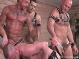 gay porn Fucking Pigs Part 1 || Horny Fuckin' Piss Bottom, Patrick O'connor, Is Looking for Some Action. He Goes to Waterboys and Invites Four Hot Tanked-up Studs to His Playroom for Some Group Action.  Translation:  He Wants a Group of Hot Men to Service His Hot, Hungry Hole.  and That's Exactly What Happens.  Chad, Ray, Blake and Dane Toss Patrick In the Tub and Hose Him Down, Then Drag His Waterlogged Ass Out of the Tub, Put Him on a Bench and Fuck Him, Spank Him, Flog Him, Piss on Him and Hose His Ass Out With Hot Man Piss.  Finally, Dane Dumps a Hot, Creamy Cum Load In His Ass, Which Ray Felches Out.  Patrick Is One Red Assed, Cum-filled, Piss-soaked, Smiling Pig Bottom as the Scene Ends!