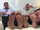 gay porn Johnny And Joey || When Ricky Larkin comes to make a delivery to Johnny and Joey he gets no less then 24 inches of gorgeous feet to worship! Johnny and Joey both have size 12 feet that any foot freak would go crazy for and Ricky surely did. Ricky offers to give them a foot and sock massage and they didn't say no. Both men revel in the foot attention that Ricky gives them. They kick back and enjoy every minute of every lick that Ricky can dish out on their big, sexy feet and toes!