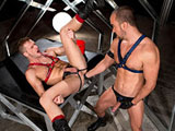 Brian Bonds raises his black booted boots in the air and takes Manuel Olveyra's hand deep up his anal passage. These pigs wear their kink with pride: Brian wears red leather nd Manuel wears blue. With a thorough fisting workout...