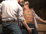 gay porn Coby Mitchell || Sebastian Keys just got a job working as a farmhand under a lean country stud, Coby Mitchell. As they move bales of hay into the barn, Sebastian discovers a pile of rope and decides to introduce Coby to bondage and edging. Coby, curious and turned on by the new farmhand, agrees to let Sebastian tie him up. With arms stretched across a horizontal beam, Coby gets his first lesson in edging-- you're not in control. Sebastian blindfolds Coby to heighten the sensation of touch and tears the clothing from his tight body. Coby is already rock hard as Sebastian cuts away his underwear and starts jacking him off. Sebastian brings out his trusted hitachis, running them over Coby's cock head as Coby thrusts his body into them, trying to get himself to cum. The bound cowboy gets tickled and edged once more before Sebastian leaves him on the beam to wait for the next phase of the lesson. Next, Coby's bound to a hay bale, Sebastian continuing to play with the stud's painfully sensitive cock. Sucking on Coby's toes and feet Sebastian works out another edge on the stud. Sebastian moves onto Coby's tight hole, introducing it to dildos and prostate massagers, all the while Coby begs to cum under the treatment. After an entire afternoon of edging, Sebastian feels generous enough to conclude the lesson and has Coby bust a thick load and even shoots himself in the face!