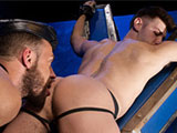 gay porn Logan Moore And Jacob  || Stunning and horny Jacob Peterson uses his cuffs to chain himself to a St. Andrews cross in the middle of the room. He waits patiently as curious Logan Moore comes up behind him and begins to explore and caress Jacob's lean body...