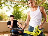 gay porn Lusty Landscaping || Texas Holcum is always complaining about his landscaping job. 'It's too hot out, it's boring, they don't pay me enough.' Well today, he's getting quite a nice bonus! As he moves with a leaf blower around to the back porch of the palatial estate...