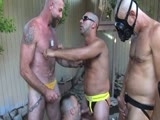 Boy Fillmore's sitting in a cattle feeding trough during Water Boys Wet 'n Hot weekend in Palm Springs, collecting piss and cum loads.  Jake, Wet and Hot are all too happy to oblige the hungry, hairy, hung, studly, thirsty boy.  They feed him major cock and piss loads and take turns fucking him.  Then Boy jumps out of the trough and they all bend Hot over, fuck and piss on his hungry, hairy hole.  Jake is next in line to get his muscle hole plowed and pissed on. Asses are pumped, loads are dumped, and everyone leaves and lives happily ever after.