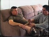 a Stocky but Muscular Marine With a Hairy Chest and a Nice Dick Gets Naked on Bobby's Bed and Jerks Off to Straight Porn. He's Really Laid Back and He Puts on a Great Show. In the Second Half of the Clip, He Comes Back a Day Later for More and This Time He's Still Dressed In His Fatigues! He Must Have Slipped Off the Base for a Quickie!