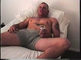 gay sex porn Hot Beefcake Jerks Off || a Beefy Bodybuilder With Tattoos All Over His Arms and on His Chest Strips Naked and Jerks Off to Straight Porn on Bobby's Bed.