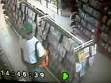Hunk caught jackin in a video store