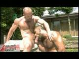 They are two beefy gay porn stars, hairy gay bodybuilders with shaved heads. They suck and rim each other's hairy tight arseholes. Cox finger-fucks Corsi before stretching him further with his big uncut cock. Corsi cums on his stomach and Cox cums into his own mouth.