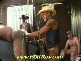 Gang Bang Rodeo is more than just the name. The fun filled, nasty pig action starts when these raunchy, ranch hands start taking turns fisting Thunder's hot, eager, dark hole. The cowboys encourage each other to RIDE his hot ass until he's taken all he can take and his hole is stretched to the max. These hairy chested, muscled up wranglers then start pairing up to fist each other until the screams of delight and the moans of joy are heard throughout the ranch. Holes are stretched to the limit. It gives an all new meaning to the words