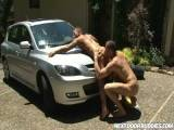 It's great having friends who help with stuff. That's why Spencer Reed is so glad to be buddies with Aryx Quinn. Aryx has noticed how dirty Spencer's car looks lately and wants to help him wash it. Spencer takes advantage of the situation by insisting Aryx wear a pair of very skimpy, revealing shorts. When Spencer's bare cock swings temptingly close to Aryx's face while they're washing, Aryx can't help but wrap his mouth around Spencer's big fat flesh hose! And even though the neighbors MIGHT be watching, Spencer goes in for a taste of his friend's juicy ass right in the middle of the driveway! It's a wet and wild carwash with these two muscular studs. Enjoy!