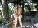 See this horny ethnic stud giving his lover a nice and soothing deep throat blowjob then gets his ass fucked so smooth ending in messy body cumshots.