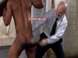 Hard straight bouncer stripped, groped, fondled, anally fingered, chained, stocks, whipped, strapped.